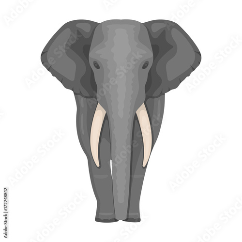 Wall mural The elephant, the biggest wild animal. African elephant with tusks single icon in cartoon style vector symbol stock illustration web.