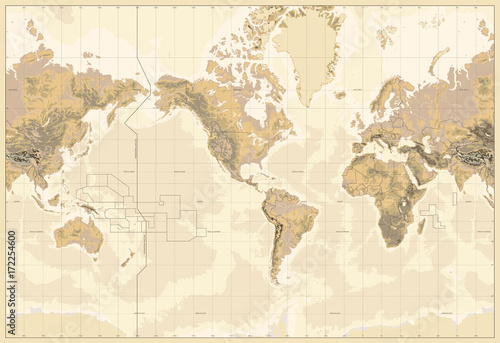 Obraz na płótnie Vintage Physical World Map-America Centered-Colors of Brown. No text