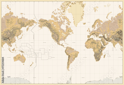 Obraz na płótnie Vintage Physical World Map-America Centered-Colors of Brown. No bathymetry and text
