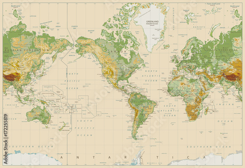 America Centered Physical World Map On Retro White - 172255819