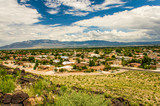 Skyline or cityscape of city with residential suburban houses near Petroglyph National Monument in Albuquerque, USA