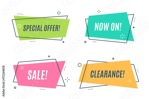Flat Linear Promotion Ribbon Banner Scroll Price Tag Sticker