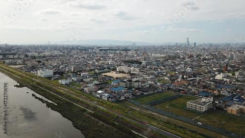 Deurstickers Parijs 大和川から空撮~松原市を望む~