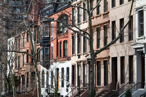 Row of historic buildings in New York City Poster