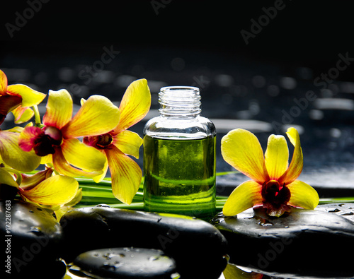 Poster Spa Yellow orchid with black stones with bottle of oil ,plant on wet pebbles