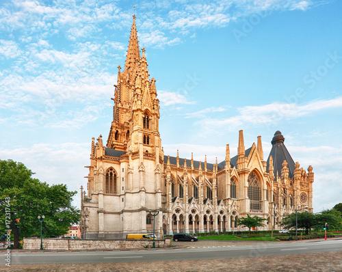 Foto op Plexiglas Brussel Cathedral in Brussels, Notre Dame in Belgium, front view