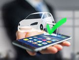 View of a Verified car ready to go on a futuristic interface - transportation and travel concept