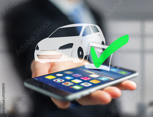 Poster View of a Verified car ready to go on a futuristic interface - transportation and travel concept
