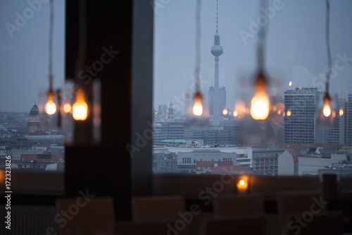 Foto op Plexiglas Berlijn Abendansicht Berliner Skyline