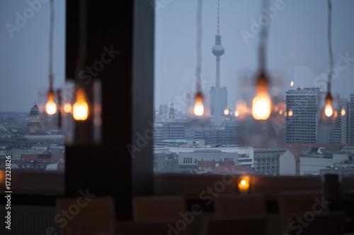 Abendansicht Berliner Skyline Poster