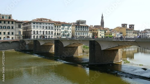 Fridge magnet Ponte alle Grazie and the Fiume Arno river in Florence Italy