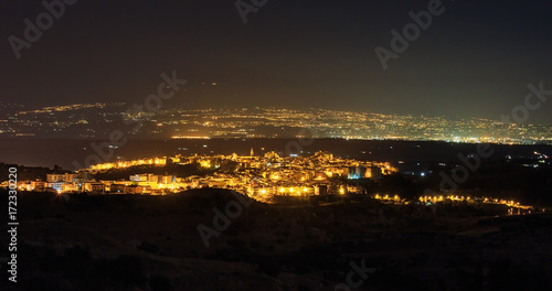 Night Lentini town view, Sicily, Italy