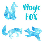 Cute watercolor icons with a fox. Constellation of the fox. Vector. - 172332415