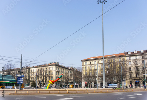 Aluminium Milan MILAN, ITALY - March 16, 2017: street view of downtown milan, capital of the Lombardy region, ranking 4th in the European Union