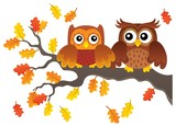 Autumn owls on branch theme image 1