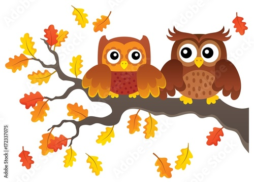 Foto op Aluminium Uilen cartoon Autumn owls on branch theme image 1