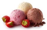 Three various ice cream balls - strawberry, vanilla and chocolate