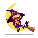 Halloween little witch. Girl in Halloween costume sits on the moon. - 172359067