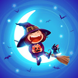 Halloween little witch. Girl in Halloween costume sits on the moon. - 172359280