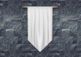 White blank Vertical Flag Banner on wooden background Mock up template. 3d illustration. - 172363019