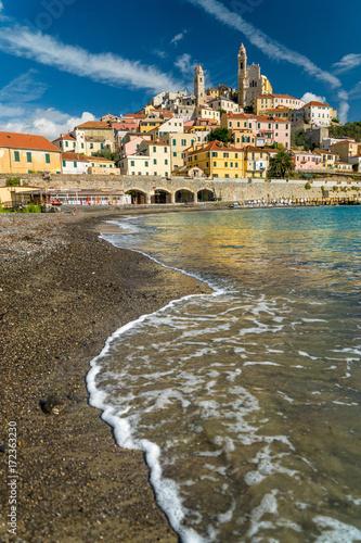 Strand von Cervo, Riviera di Ponente, Liguria, Italy