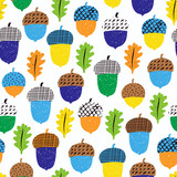 Acorn seamless pattern with leaves. Vector illustration. Autumn surface decoration. - 172373451