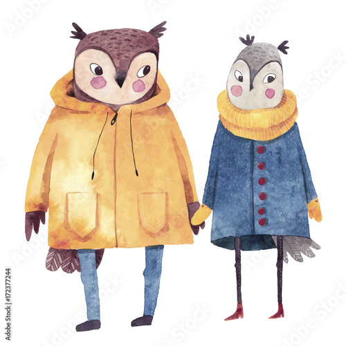 Watercolor illustrations with birds. Two owls in love. Hand drawn watercolor painting. Hipster animals in coats. - 172377244