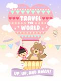 Cute Little Girl and Bear Riding A Hot Air Balloon Vector
