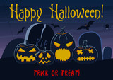 Vector illustration of Happy Halloween postcard with scary pumpkin lanterns on cemetery and trick or treat words. - 172378494