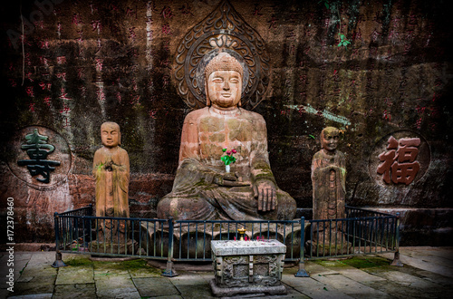 The Buddha statue in Leshan, China. Poster