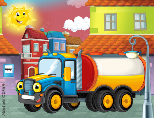 happy and funny cartoon cistern truck looking and smiling driving through the city or parking near the garage - illustration for children - 172378699