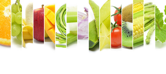 Collage of various type color fruits and vegetables