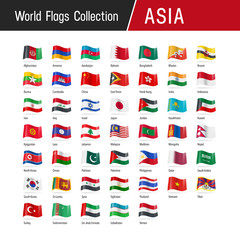 Flags of Asia, waving in the wind - World flags collection