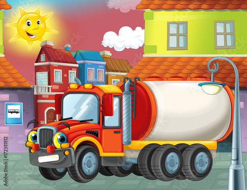 happy and funny cartoon cistern truck looking and smiling driving through the city or parking near the garage - illustration for children - 172381812