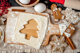 cooking christmas gingerbread on wooden background top view - 172383220