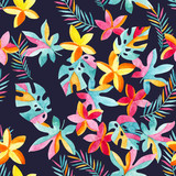 Watercolor exotic flowers and leaves background. - 172387425