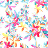 Watercolor exotic flowers and leaves background. - 172387445