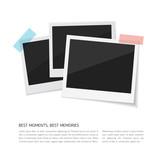 Enjoy your moments. Vector Set polaroid photos sticked down with paper tape. Retro fotos on white background. - 172387670