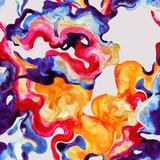 Hand painted decorative wavy blot seamless pattern - 172388217