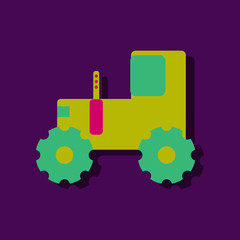 flat vector icon design collection children tractor silhouette in sticker style