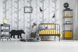 White bedroom with yellow clock - 172389824