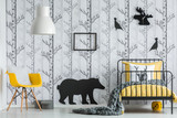Bedroom with black bear sticker - 172389865