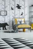 Geometric carpet in child's bedroom