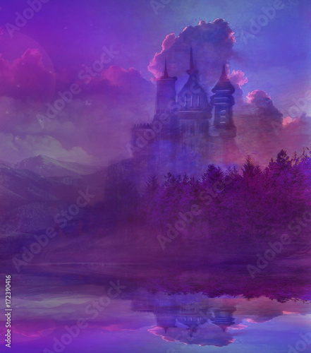 Foto op Canvas Violet Abstract fairytale castle