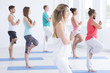 Friends focus on yoga classes