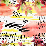 Abstract fall seamless pattern in bright autumn colors. - 172402838