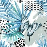 Watercolor graphical illustration: exotic butterfly, tropical leaves, doodle elements on grunge background. - 172403081