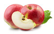 red apples with slice isolated on a white background