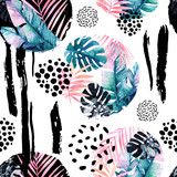 Abstract natural seamless pattern inspired by memphis style. Circles filled with tropical leaves, doodle, grunge texture, rough brush strokes. Hand painted watercolour illustration - 172405250