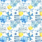 Stylized summer vacation seamless pattern - 172405641